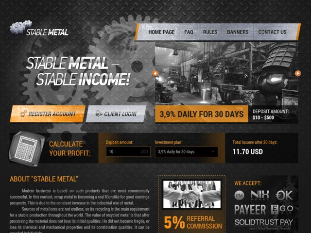 HYIP Investment Program:Stable-Metal